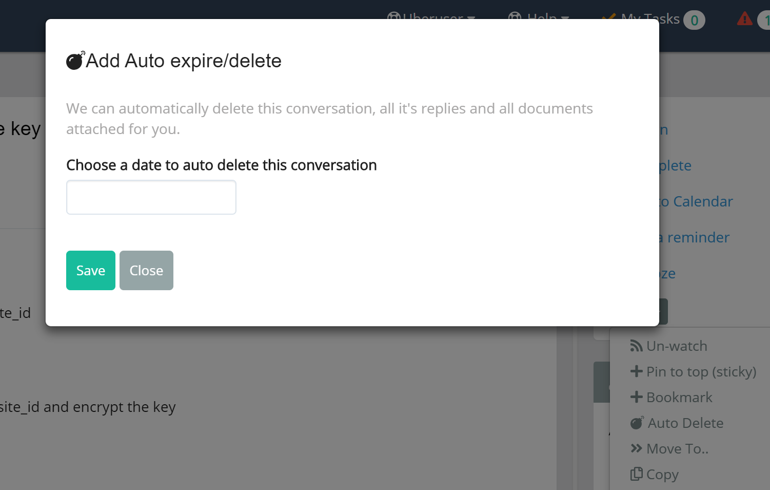 We can automatically delete a conversation and documents after a set date